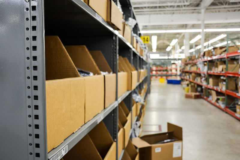 Boxes on shelf in warehouse