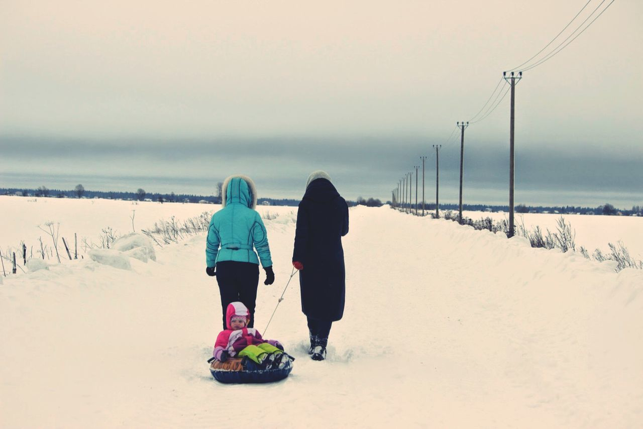 cold temperature, winter, snow, sky, rear view, full length, land, real people, nature, women, two people, beauty in nature, lifestyles, scenics - nature, leisure activity, warm clothing, girls, water, people, outdoors