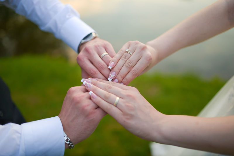 Close-Up Of The Hands Of A Bride And A Groom
