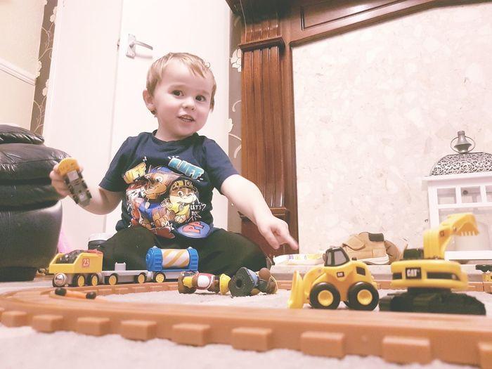Handsome Chocolate Button Eyes My Babyboy❤ Babyrobert My Little Gent Gorgeous Playing Train Track Having Fun :)