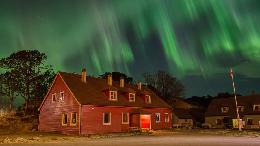 Raining Aurora Building House Architecture Built Structure Night Building Exterior Tree Residential District Sky Beauty In Nature Plant Illuminated No People Nature Star - Space Green Color Cloud - Sky Scenics - Nature Landscape Aurora Borealis Northern Lights Olympus