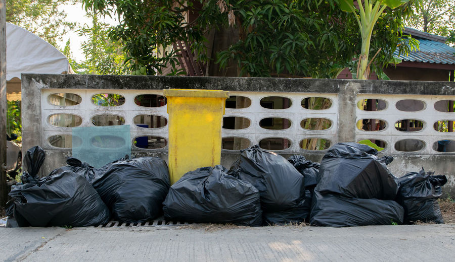 Black garbage bags And yellow a trash Plant Nature Tree Day Outdoors No People Relaxation Garbage Growth Tropical Climate Architecture Side By Side Sleeping Absence In A Row Built Structure Plastic Palm Tree Social Issues Garbage Bag Bin