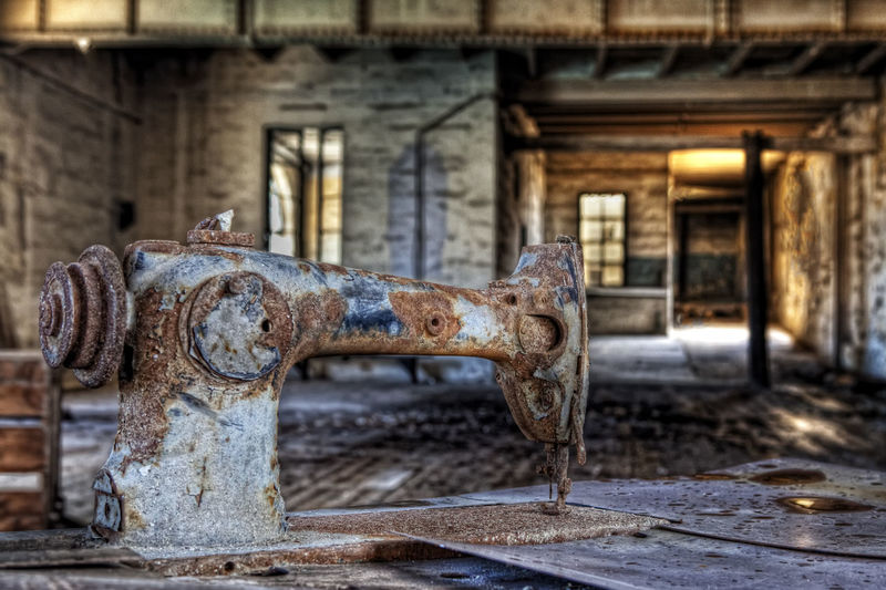 Unthreaded Abandoned Places Decay Sewing Machine Abandoned Eerie Factory Factory Building Urban Decay