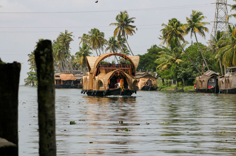 Alleppey ASIA Backwater Boat Canal Cruise Ferry Floating Holiday House Houseboat India Indian Kerala Palm Tree River Tourism Traditional Transport Transportation Tropical Vacation Vessel Water