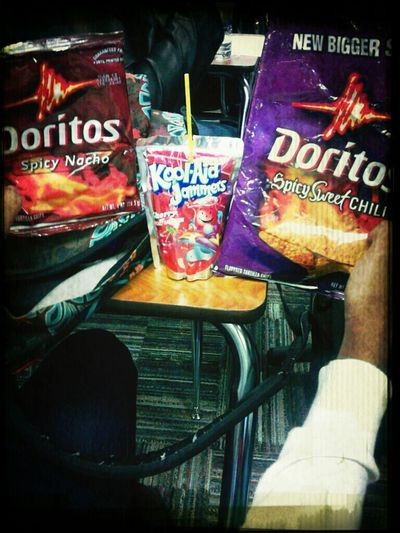 Five people ,two chips, one drink!!!!! In Class Chips #Coolin #Bored #Hungry #Tired The Struggle Is Real