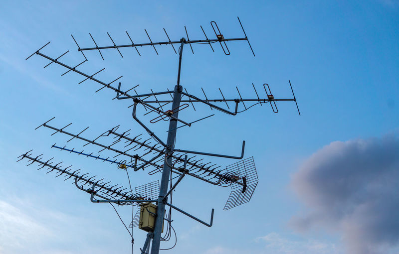Antenna Antenna - Aerial Architecture Blue Cloud - Sky Communication Connection Day Fuel And Power Generation Low Angle View Metal Nature No People Outdoors Power Supply Sign Sky Technology Telecommunications Equipment Television Aerial Wireless Technology