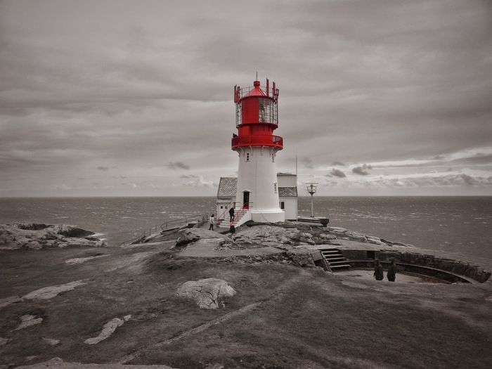 Norway Architecture Beach Black And Red Colour Building Exterior Built Structure Cloud - Sky Direction Guidance Horizon Horizon Over Water Land Lighthouse Nature No People Outdoors Protection Safety Sea Security Sky Tower Water