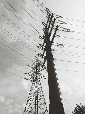 Transmission Line Tower 220 KV Circuit Lines High Voltage Together Forever Electricity  Black & White Power Line