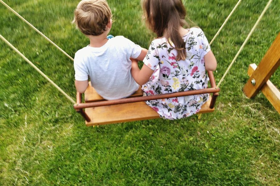 Boy And Girl Boy Girl Swing Wooden Swing Siblings Brother & Sister Friendship Child Childhood Togetherness Full Length Relaxation Summer Sitting