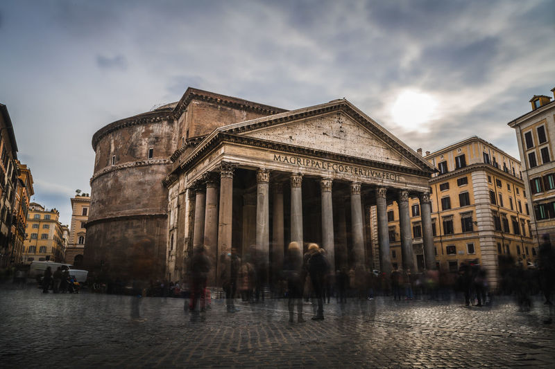 Long exposure of people in front of the Pantheon in Rome, Italy. #City #History #Landmark #Pantheon #Rome #architecture #buildings #clouds  #cobblestone #crowd #italy #longexposure #people #sky #sunset #travel #urban