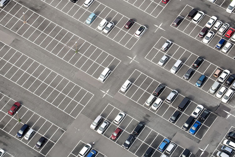 High angle view of cars at parking lot