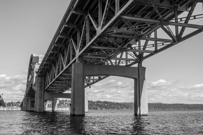 Beneath Seattle highway bridge. Lake Washington Seattle Architecture Beneath Bridge Bridge - Man Made Structure Built Structure Connection Day Low Angle View No People Outdoors Sky Transportation Water Waterfront
