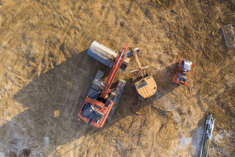 High angle view of machinery on land