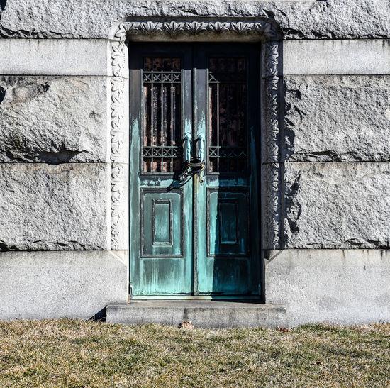 Historic city graveyard old door