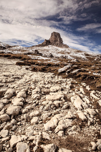 Dolomite Alps, Italy, Europe, Drei Zinnen area at Fall Adriatic, Dolomite, Drei Zinnen, Italy, Adventure, Alps, Area, Coast, Dolmatien, Europe, European, Fall, Hiking, Landscape, Mountains, Nature, Outdoors, Rocks, Sea, Sky, Summer, Sunlight Cloud - Sky Sky Beauty In Nature Scenics - Nature Mountain Tranquil Scene Tranquility Nature Non-urban Scene Environment Rock Day Mountain Range No People Landscape Remote Solid Idyllic Rock - Object Outdoors Arid Climate Mountain Peak Climate Formation Snowcapped Mountain