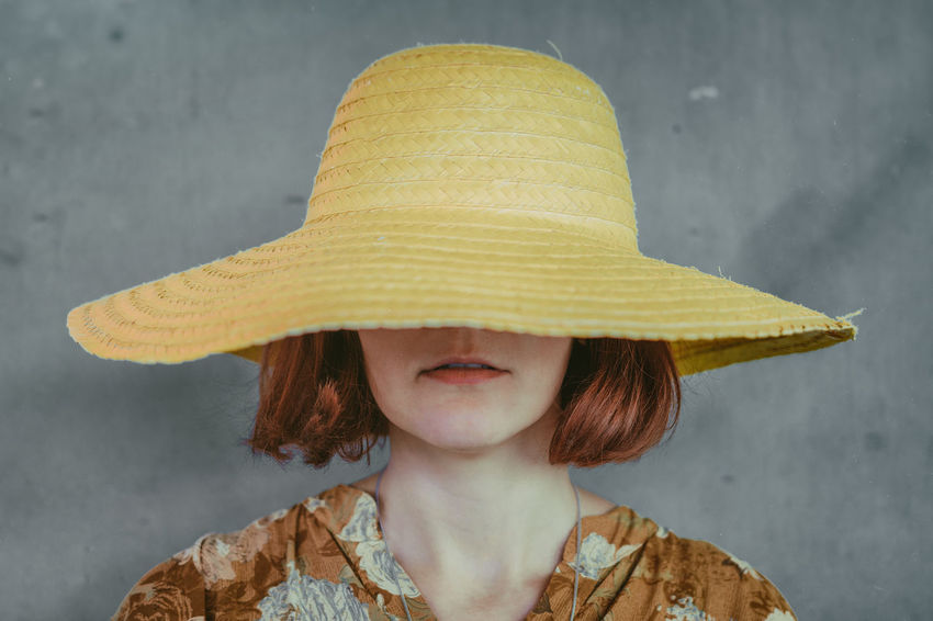 Childhood Close-up Day Front View Gray Background Hat Headshot One Person Outdoors Real People Yellow Goodfeelography EyeEm Workshop EyeEmFestival17 The Week On EyeEm EyeEmNewHere Fashion Stories