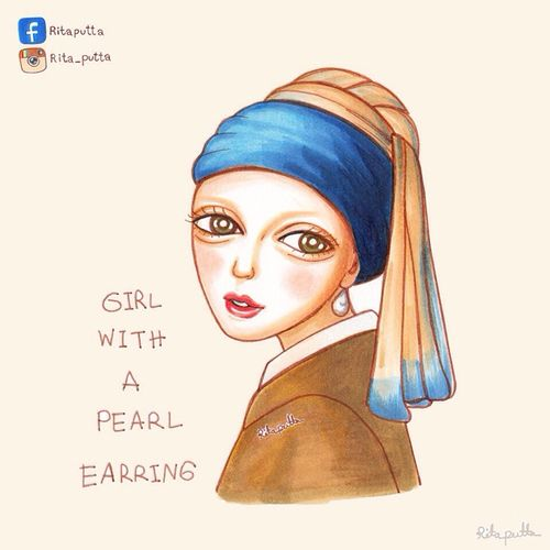"""""""GIRL WITH A PEARL EARRING"""" Johannes Jan Vermeer 1665 By Ritaputta style . Copic Illustration Rita_putta Ritaputta Girl Cartoon Art Girl With A Pearl Earring Johannes Jan Vermeer Copicmarkers"""