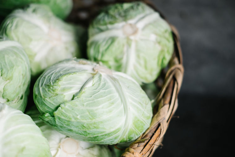 Close-up of cabbage on table