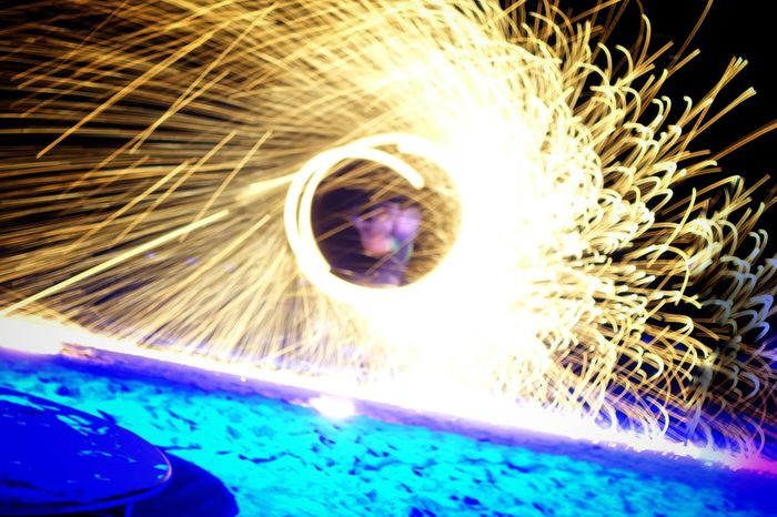 Fire On The Beach. Fire Show Fire Eater Sparks Amazing Photo Flashy Lights