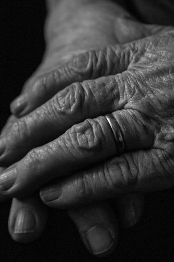 Black And White Photography VelikoTarnovo Bulgaria Bulgarian Stories Old People Wrinkled Alone Details Skin Wife Human Hand Togetherness Bonding Human Finger Close-up Couple Ring Wedding Ring Falling In Love Jewelry