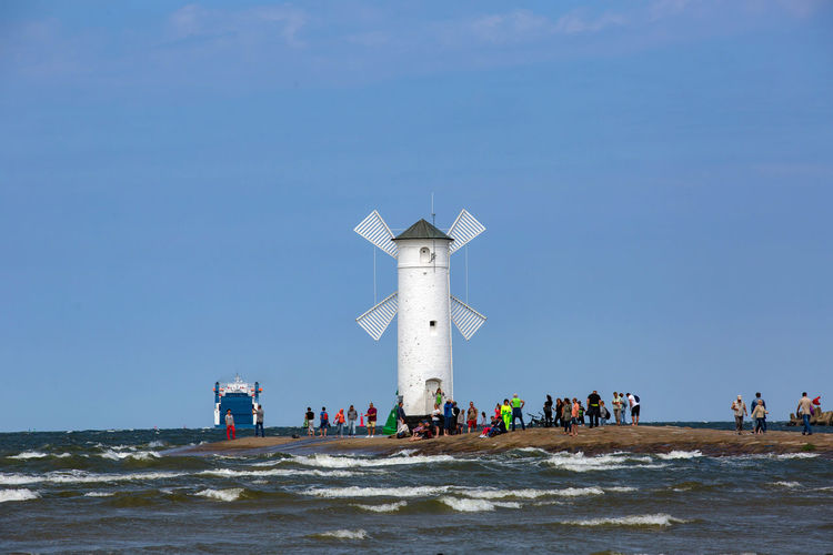 Baltic Baltic Sea Stawa Mlyny Architecture Beach Blue Built Structure Clear Sky Crowd Day Group Of People Land Large Group Of People Leisure Activity Men Nature Outdoors Real People Sea Sky Tower Water Women