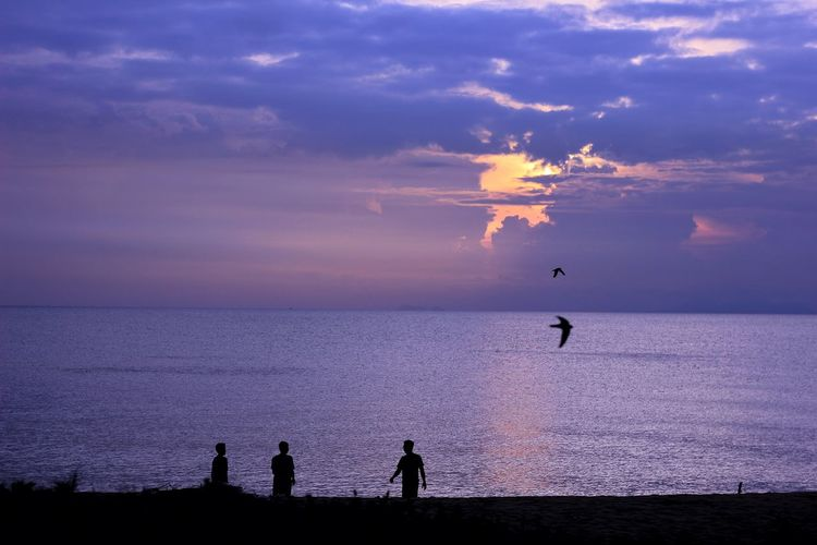 Summer and seas never be apart Silhouette Sky And Sea Seascape Seascape Photography Bird Men Sea Beauty In Nature Sunset Horizon Over Water Nature Day Flamingo Sunrise People Adult Water Fisherman Outdoors Sky Standing Only Men Nautical Vessel Adults Only Live For The Story