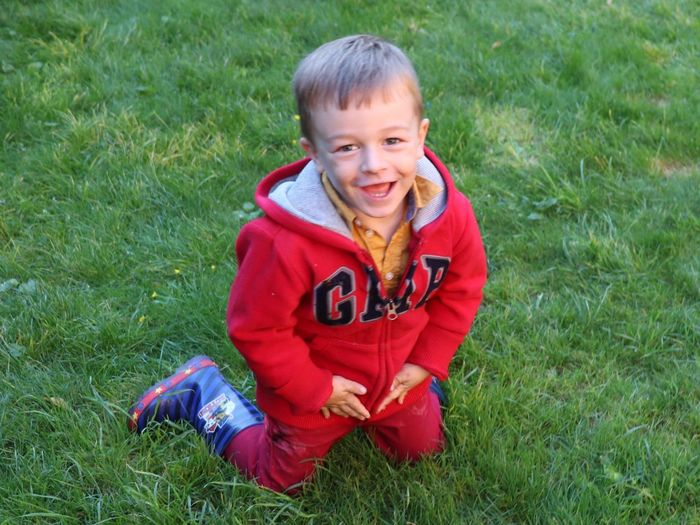 Childhood Child Looking At Camera Portrait One Person Grass Smiling