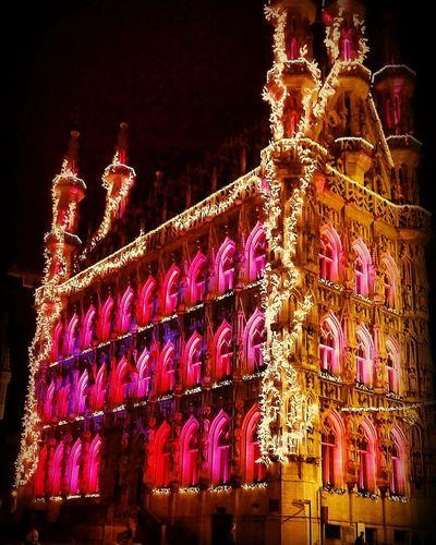 Night Red Christmas Travel Destinations Cultures Illuminated Architecture City Christmas Decoration No People Outdoors Midnight EyeEmNewHere Leuven, Belgium Cityhall EyeEmNewHere