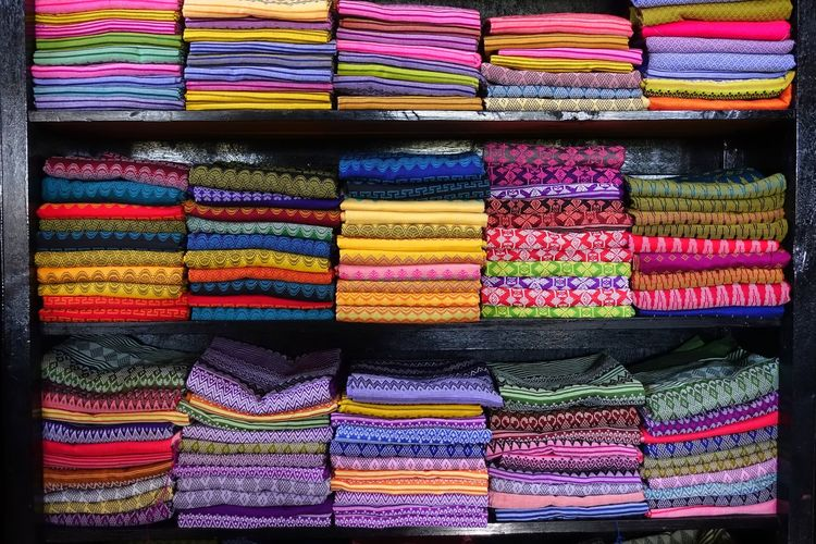 Full frame shot of multi colored fabric for sale in store
