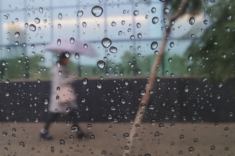 Raindrops Umbrella Girl Drop Wet Rain Glass - Material Water Transparent Window RainDrop Full Frame Rainy Season Nature Focus On Foreground Close-up Backgrounds Day Monsoon Glass Rainy Days Walking