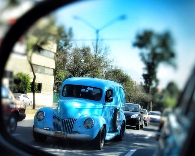 Azul Vintage Cars Blue Car Old Car Reflection Retrovisor