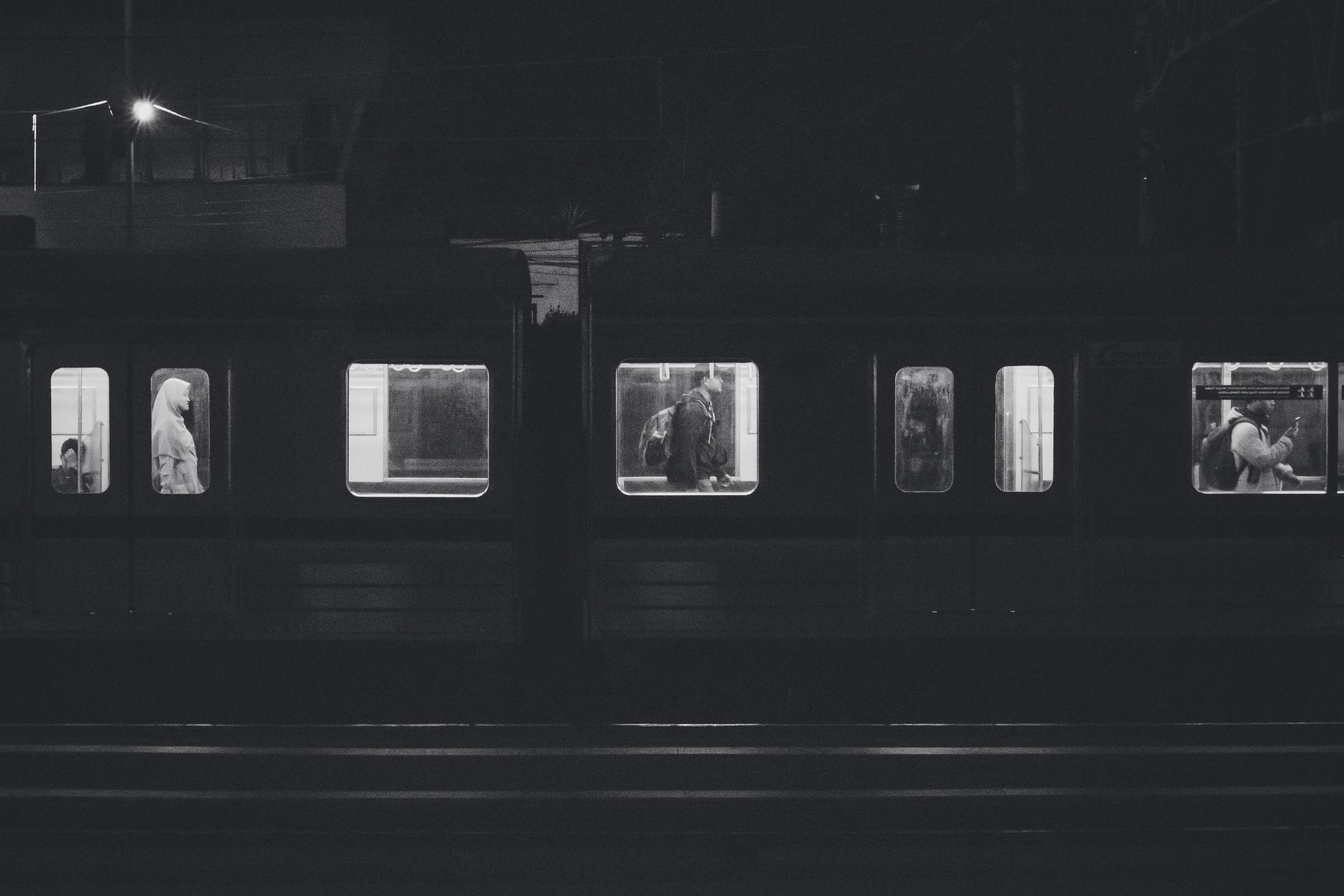 public transportation, rail transportation, train, mode of transportation, transportation, train - vehicle, railroad station, railroad station platform, architecture, illuminated, subway train, no people, built structure, window, travel, night, building exterior, station