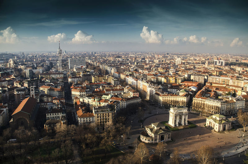 North West Milan Cityscapes Horizon January Milan,Italy Sky And Clouds Square View From Above