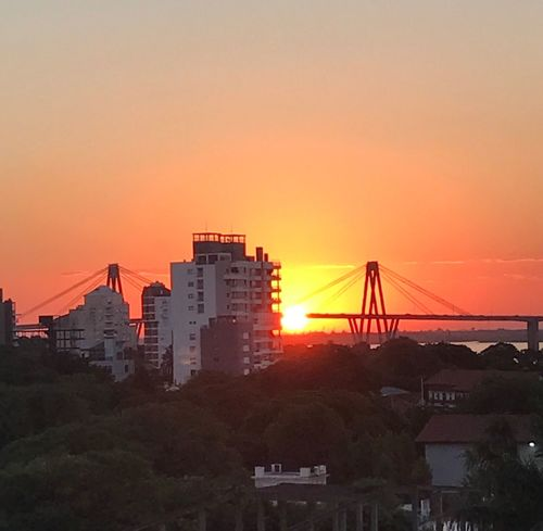 Sunset Orange Color Urban Skyline Sky