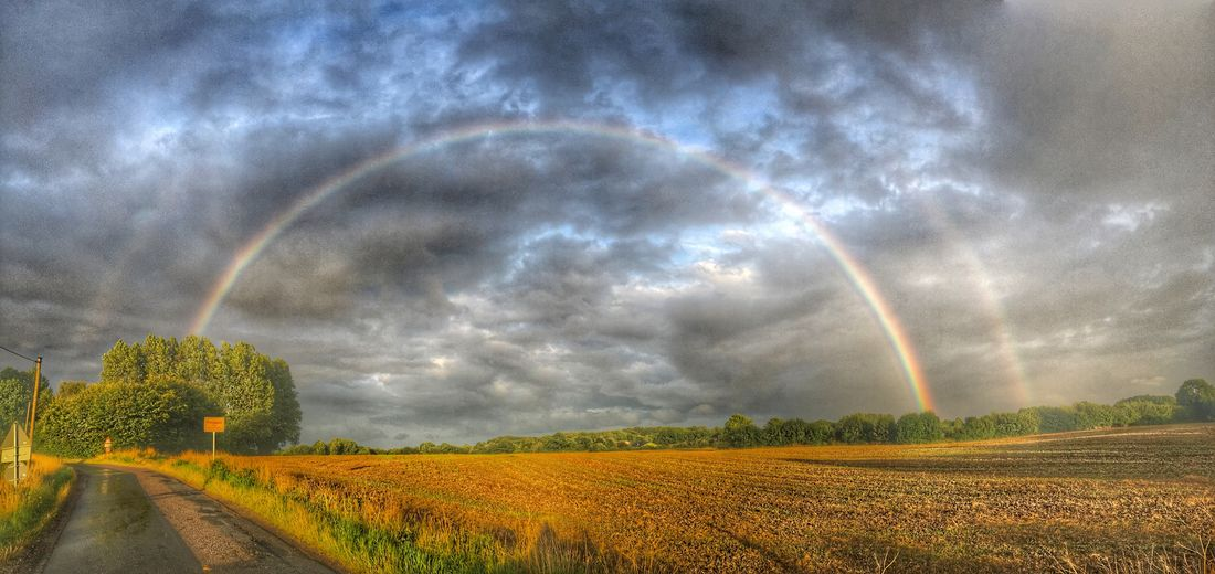 Double Rainbow Rainbow Beauty In Nature Landscape Agriculture Rural Scene Idyllic No People Dramatic Sky Dramatic Landscape Cloud - Sky Tranquil Scene