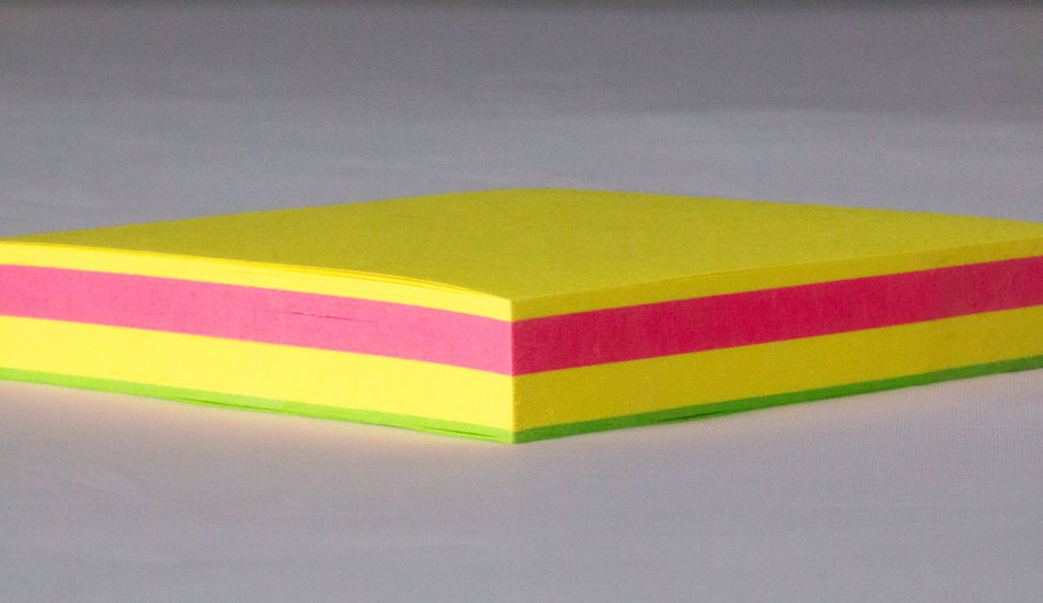 Close-up Colours Copy Space Corner Flag Green Layers Multi Colored No People Paper Pink Post Its Stationery Sticky Notes Vibrant Color White Background Yellow