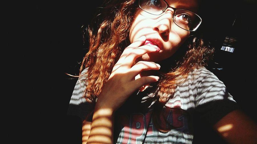 Sunlight Shadows Stripes Natural Redhead Messy Hair Messy Life Hand Brown Eyes Lips Popeye Shirt