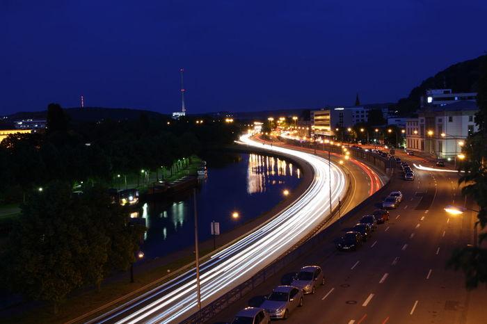Blue Hour German Autobahn Highway Long Exposure Motion Road Saar Saarbrucken Saarbruecken Saarland Street Light