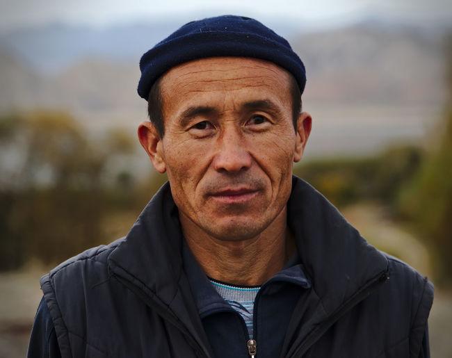 Portrait of man wearing mask outdoors