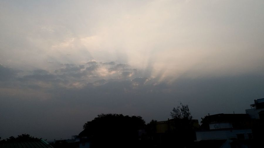 "dramatic evening sky"" Sun Beam From Cloud Sunset In Dwelling Locality City Side Sunset Tree Silhouette Sky Atmospheric Mood Dramatic Sky Forked Lightning"