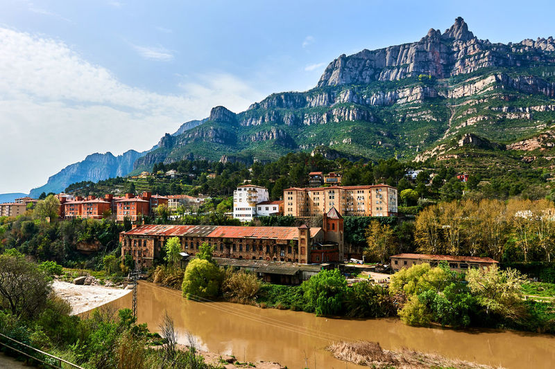 View of town against montserrat mountain range
