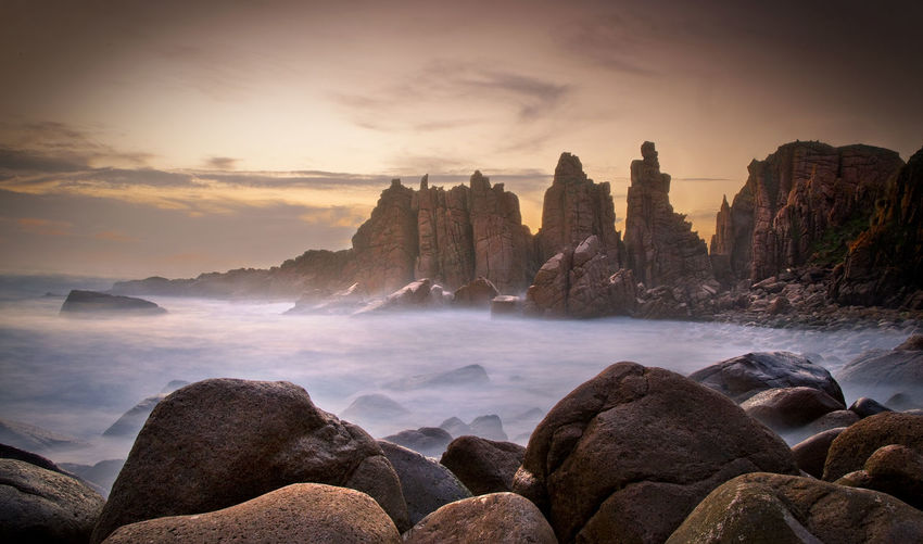 The Pinnacles Phillip Island Long Exposure Blurred Water Sunset Clouds Rocks Rock Pillars Wild Victoria Warm Travel Destinations Explore Hiking Orange