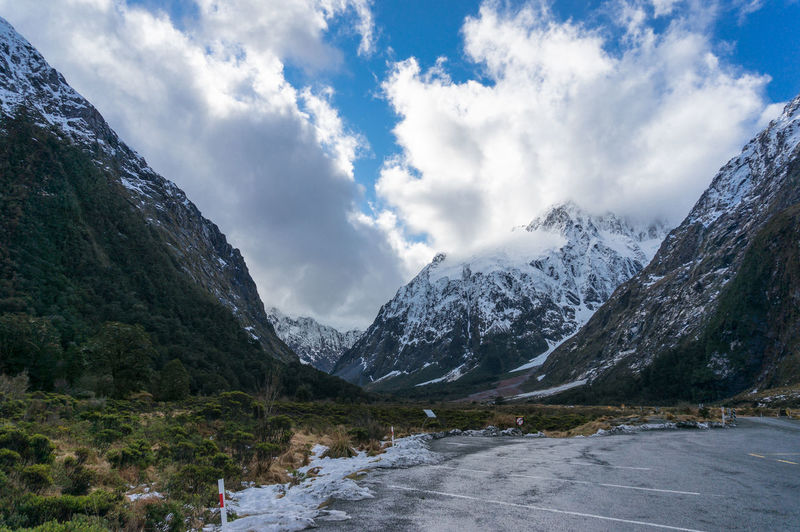 Winter landscape with snowcapped mountains in fiorland national park in new zealand