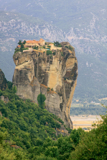 Roussanou monastery at meteora, greece. monasteries of meteora is a picturesque religious complex