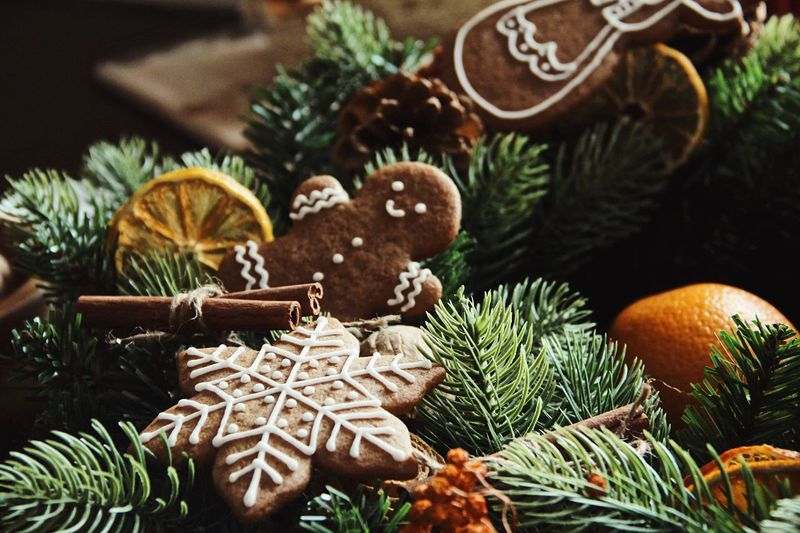 Christmas gingerbread cookies Gingerbread Cookie Holiday Christmas No People Tree Decoration Celebration Christmas Decoration Food And Drink Creativity Close-up Holiday - Event Christmas Ornament Still Life christmas tree Focus On Foreground Plant Nature Food Indoors  Coniferous Tree