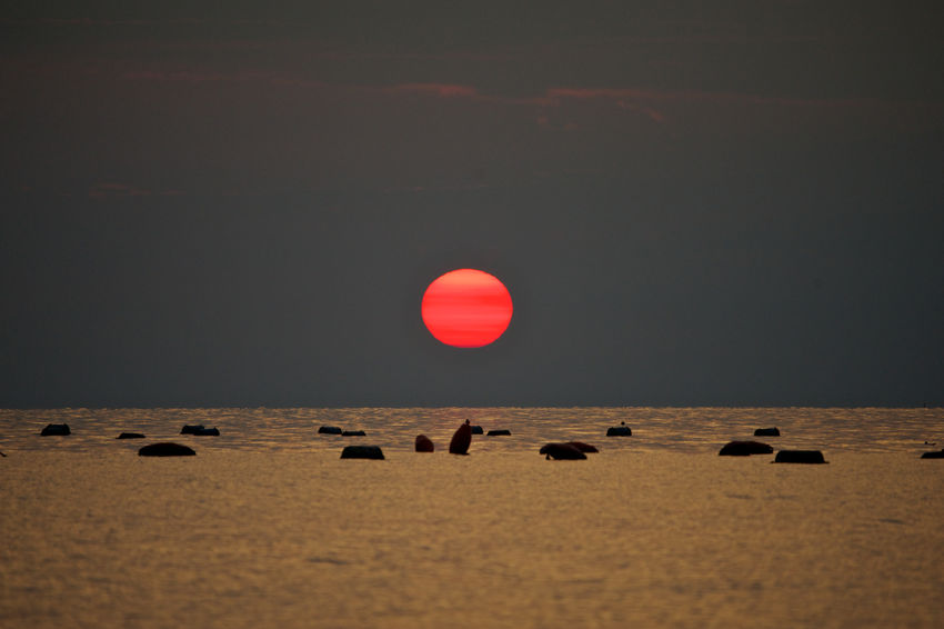 red sun Beauty In Nature Beauty In Nature Fishing Mussels Farm No People Red Sun Sea Landscape Sunset Travel Destinations Travel Pictures Trieste Red Sun