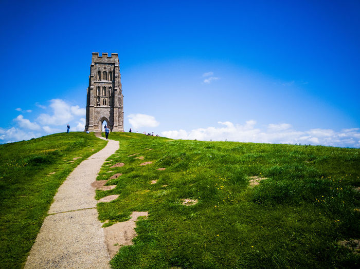 Path to the watchtower Glastonbury Tor Path Hill England Tree Scenics Catholicism Place Of Worship Christianity Steeple Religion