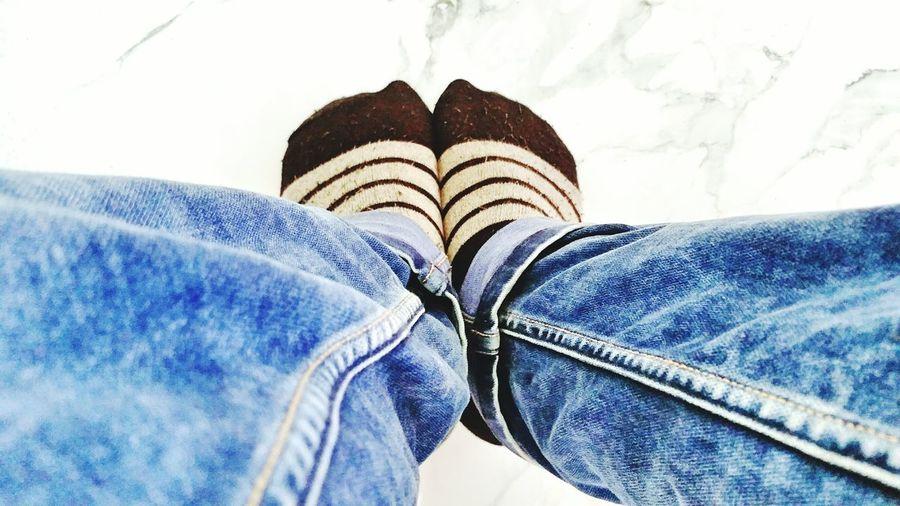 Jeans Human Leg Lifestyles One Person Socks !  SOCKS!!!