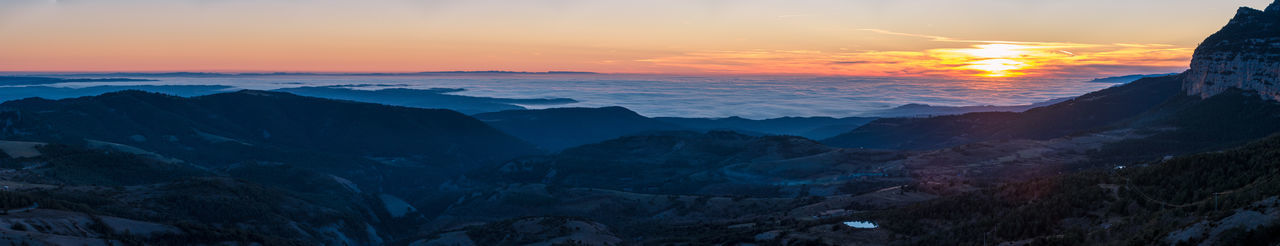 Sunset from Coll de Jou Sunset Scenics Panorama Panoramic Clouds Above The Clouds