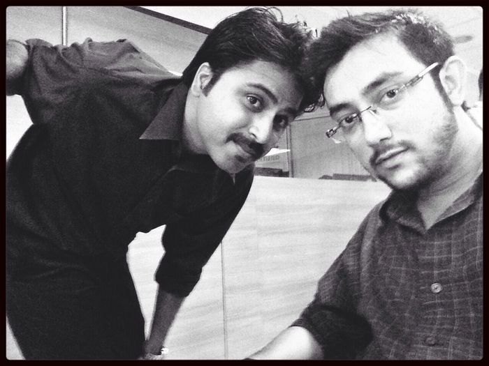 With Abhi at work
